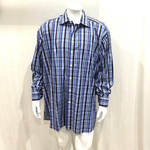Eton Mens Blue Checkered Dress Shirt